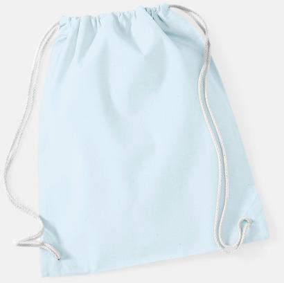 Pastel Blue/Vit Gympapåsar i bomull med reklamtryck