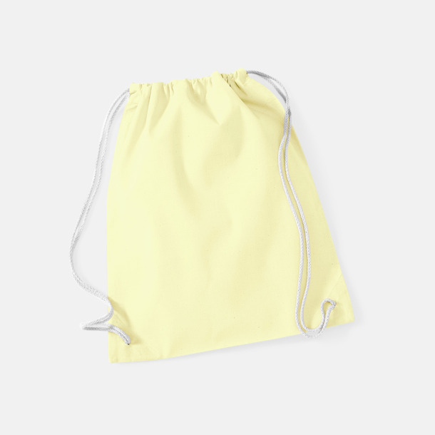 Pastel Lemon/Vit Gympapåsar i bomull med reklamtryck