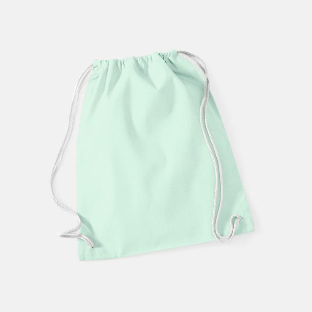 Pastel Mint/Vit Gympapåsar i bomull med reklamtryck