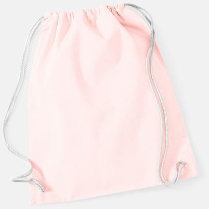 Pastel Pink/Vit Gympapåsar i bomull med reklamtryck