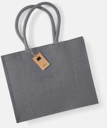 Graphite Grey Juteväskor med färgade handtag - med reklamtryck