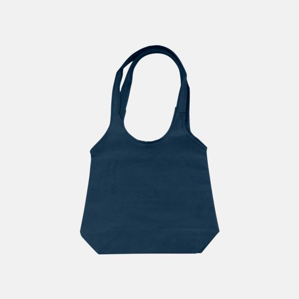 Mörkblå Trendiga tygväskor med reklamtryck
