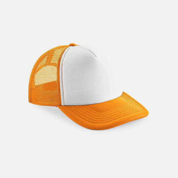 Orange / Vit Trucker kepsar för barn & vuxna - med reklamlogo