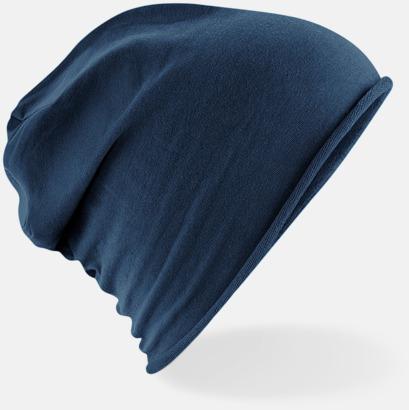 Marinblå Tunna beaniemössor med reklamlogo