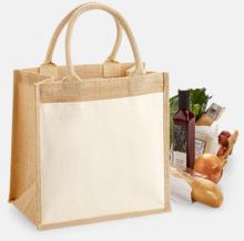 Shopping jutekassar med bomullsficka med reklamtryck