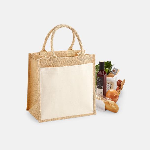 14 liter Shopping jutekassar med bomullsficka med reklamtryck