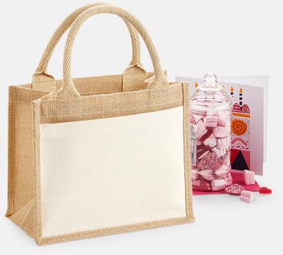 6 liter Shopping jutekassar med bomullsficka med reklamtryck