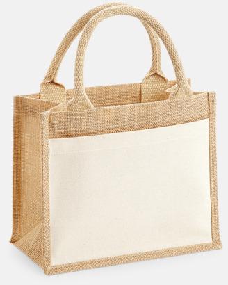 Natur (6 liter) Shopping jutekassar med bomullsficka med reklamtryck