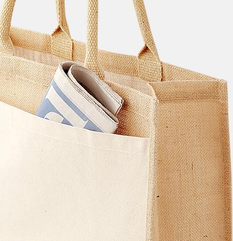 21 liter (detalj) Shopping jutekassar med bomullsficka med reklamtryck
