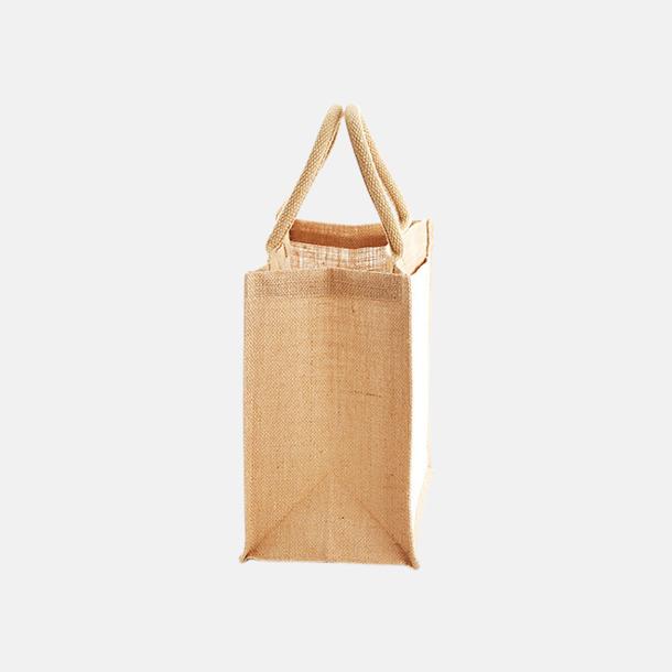 Sida (14 liter) Shopping jutekassar med bomullsficka med reklamtryck