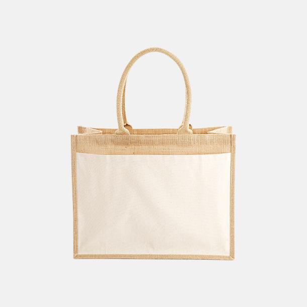Framsida (21 liter) Shopping jutekassar med bomullsficka med reklamtryck