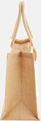 Sida (21 liter) Shopping jutekassar med bomullsficka med reklamtryck