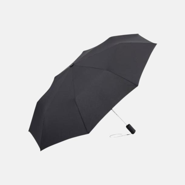 Svart Kompakt paraply med eget reklamtryck
