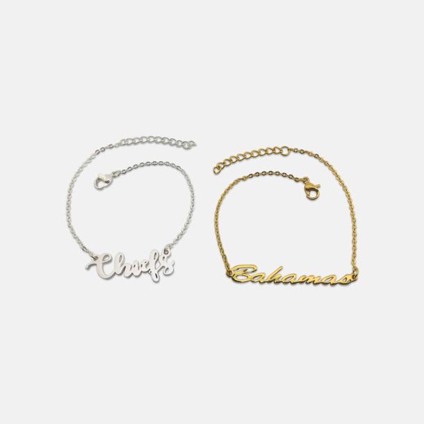Guld- och silver pläterade armband med eget namn