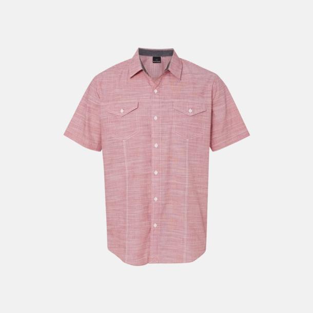 """Röd/White Heather (herr) """"Vävda"""" skjortor med reklamlogo"""
