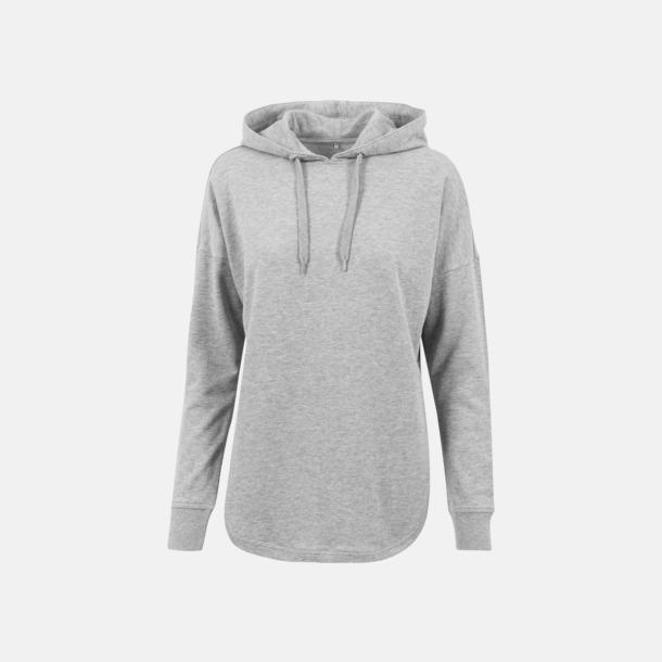 Grå Dam hoodies i oversize med reklamtryck