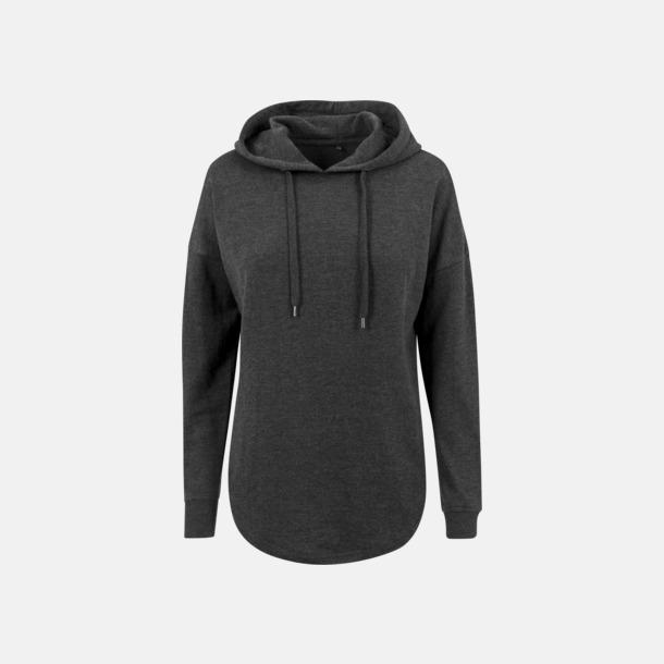 Charcoal (heather) Dam hoodies i oversize med reklamtryck