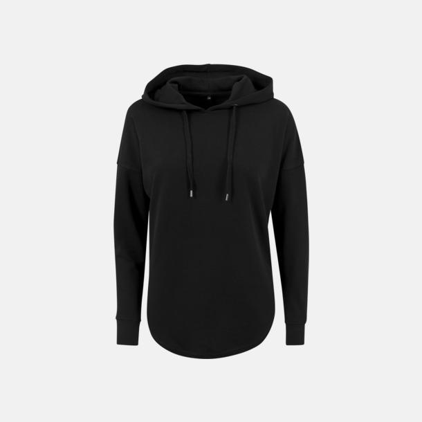 Svart Dam hoodies i oversize med reklamtryck
