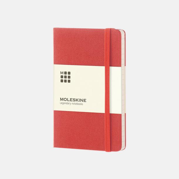 Röd (pocket) Moleskine-böcker med blanka sidor och hårt omslag - med reklamtryck