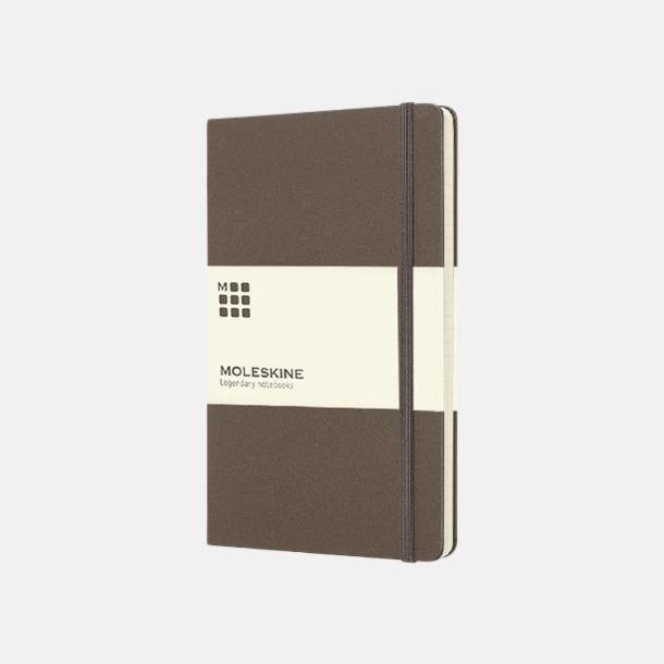 Brun (large) Moleskine-böcker med blanka sidor och hårt omslag - med reklamtryck
