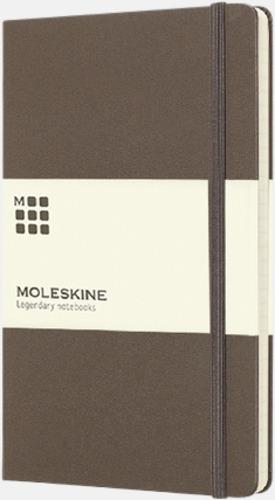 Brun (ruled) Moleskines stora anteckningsböcker (ca A5) med linjerade eller rutade sidor - med reklamtryck