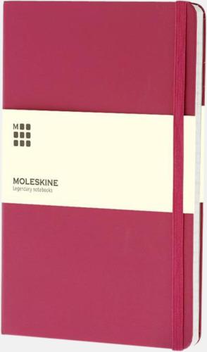 Rosa (ruled) Moleskines stora anteckningsböcker (ca A5) med linjerade eller rutade sidor - med reklamtryck