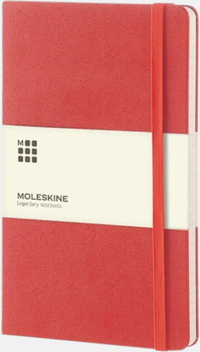 Röd (ruled) Moleskines stora anteckningsböcker (ca A5) med linjerade eller rutade sidor - med reklamtryck