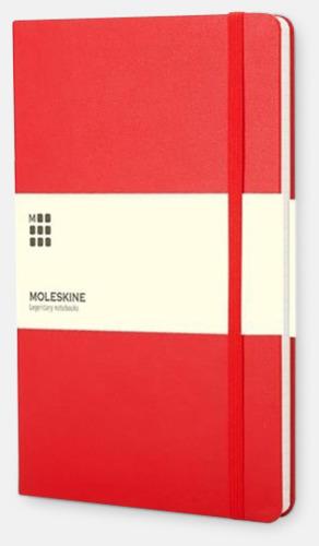 Röd (squared) Moleskines stora anteckningsböcker (ca A5) med linjerade eller rutade sidor - med reklamtryck