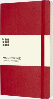 Röd (ruled) Moleskine mjuka notisböcker i 3 utföranden med reklamtryck
