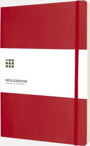 Röd (plain) Moleskine extra stora, mjuka notisböcker i 3 utföranden med reklamtryck