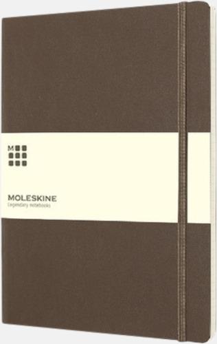 Brun (ruled) Moleskine extra stora, mjuka notisböcker i 3 utföranden med reklamtryck