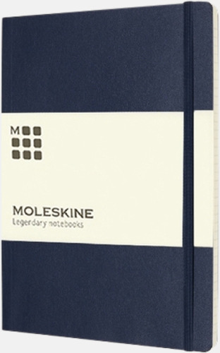 Mörkblå (ruled) Moleskine extra stora, mjuka notisböcker i 3 utföranden med reklamtryck