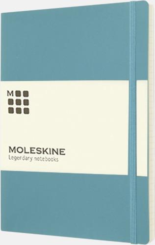 Turkos (ruled) Moleskine extra stora, mjuka notisböcker i 3 utföranden med reklamtryck