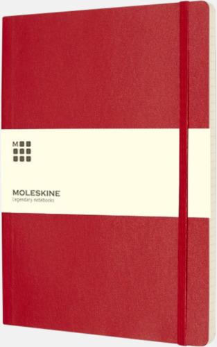 Röd (ruled) Moleskine extra stora, mjuka notisböcker i 3 utföranden med reklamtryck