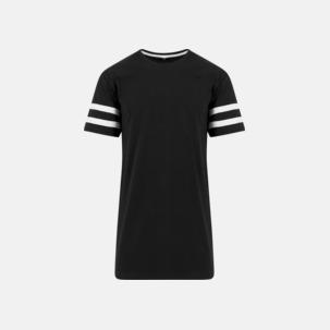 Bomulls t-shirts med randiga ärmar - med reklamtryck
