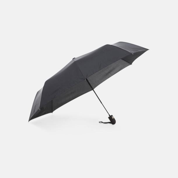 Svart Kompakt paraply av återvunnen PET med reklamtryck