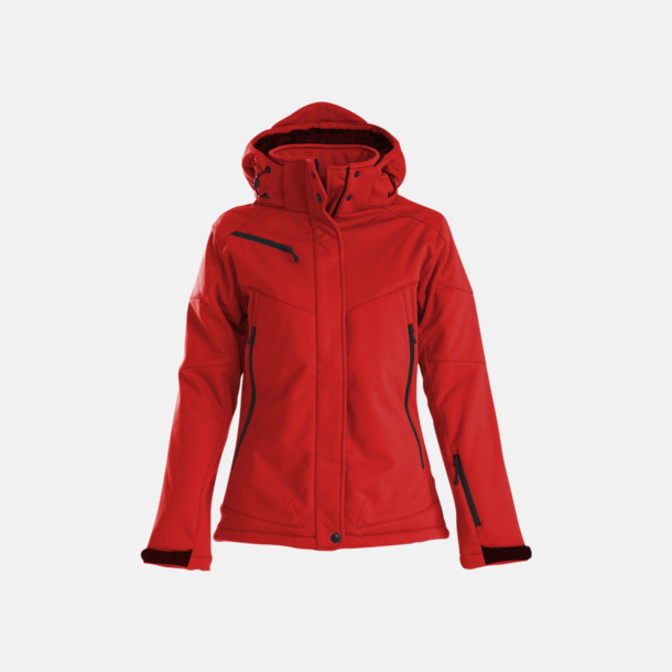 Röd (dam) Vadderade jackor med löstagbar huva - med reklamtryck