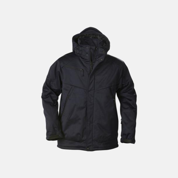Marinblå (herr) Vadderade jackor med löstagbar huva - med reklamtryck
