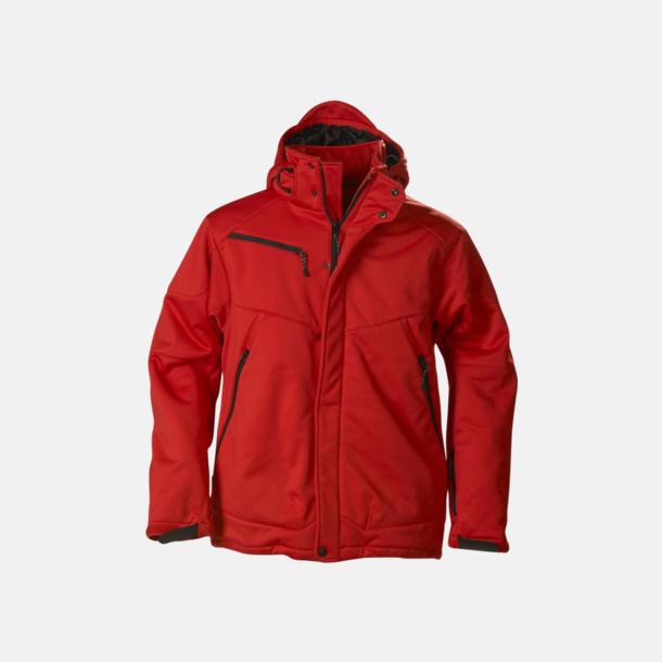 Röd (herr) Vadderade jackor med löstagbar huva - med reklamtryck