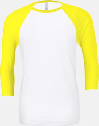 Vit/Neon Yellow (unisex) Baseball t-shirts för små & vuxna med reklamtryck