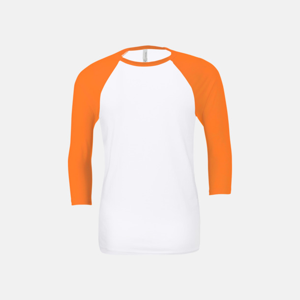 Vit/Neon Orange (unisex) Baseball t-shirts för små & vuxna med reklamtryck