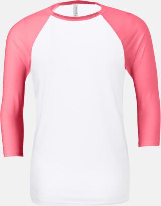 Vit/Neon Pink (unisex) Baseball t-shirts för små & vuxna med reklamtryck