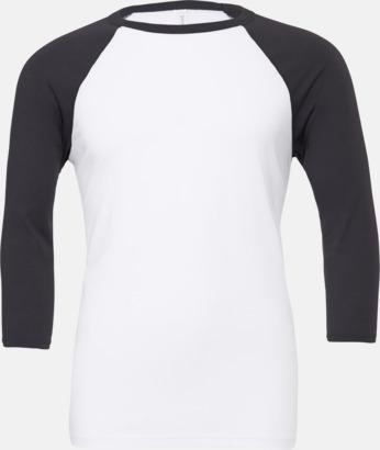 Vit/Mörkgrå (unisex) Baseball t-shirts för små & vuxna med reklamtryck