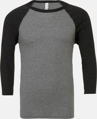 Deep Heather/Svart (unisex) Baseball t-shirts för små & vuxna med reklamtryck
