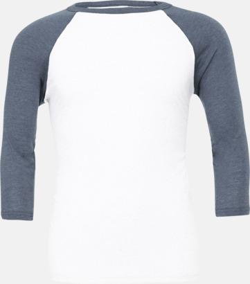 Vit/Denim Triblend heather (unisex) Baseball t-shirts för små & vuxna med reklamtryck