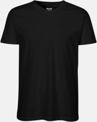 Svart (herr) Eko bas t-shirts Fairtrade med djup v-ringning med reklamtryck