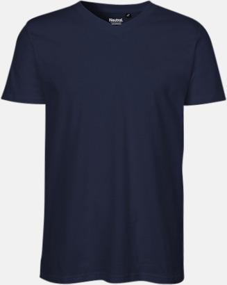 Marinblå (herr) Eko bas t-shirts Fairtrade med djup v-ringning med reklamtryck