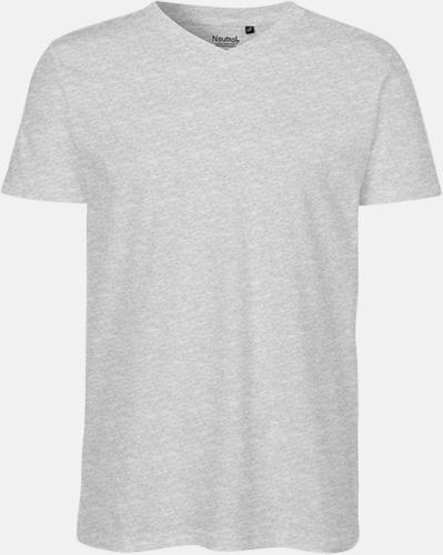 Sports Grey (herr) Eko bas t-shirts Fairtrade med djup v-ringning med reklamtryck