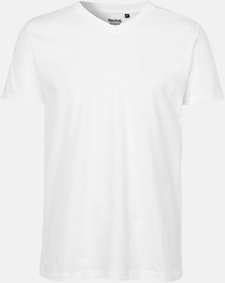 Vit (herr) Eko bas t-shirts Fairtrade med djup v-ringning med reklamtryck