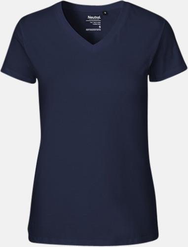 Marinblå (dam) Eko bas t-shirts Fairtrade med djup v-ringning med reklamtryck